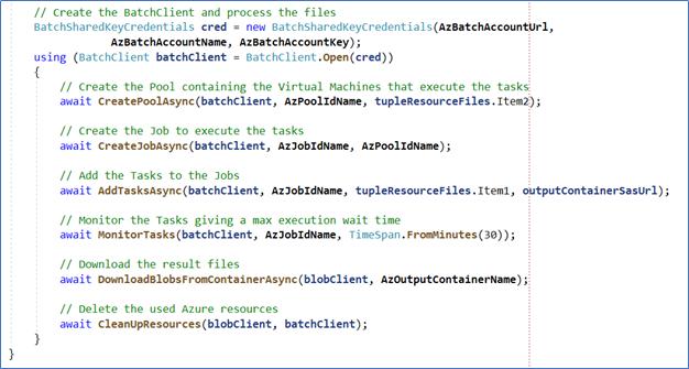 Azure batch script screenshot