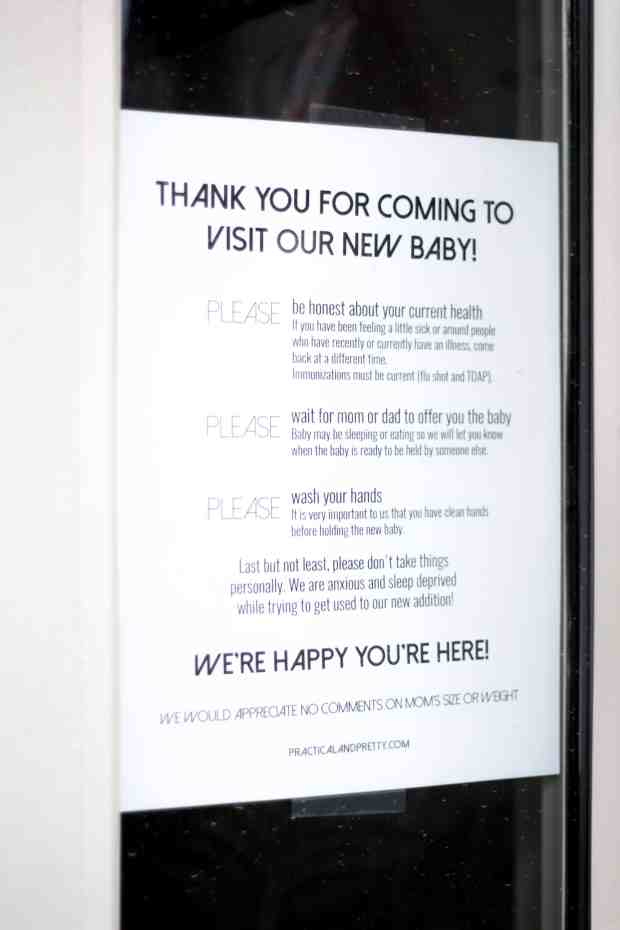 Let your visitors coming to visit your newborn know exactly what you'd like with this free printable. This is so good for helping new parents feel a little less anxious, especially during cold and flu season