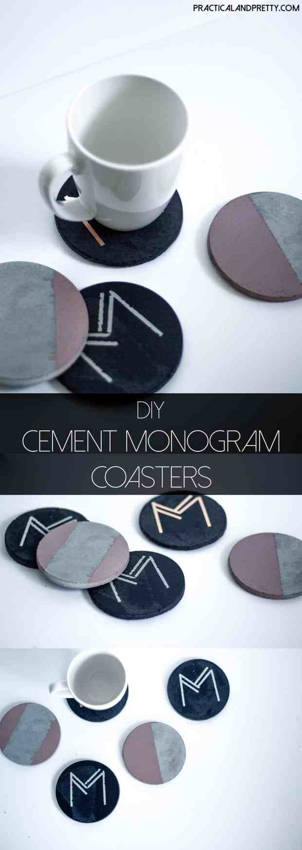 DIY cement coasters and instructions. Monogrammed with Art Deco font! Every house needs a set of these.