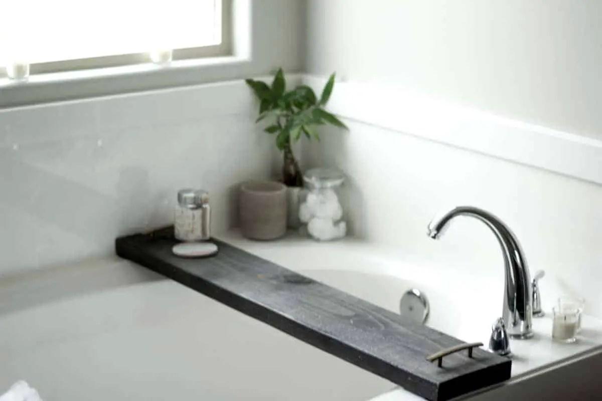 DIY Stained Wood Bath Tray