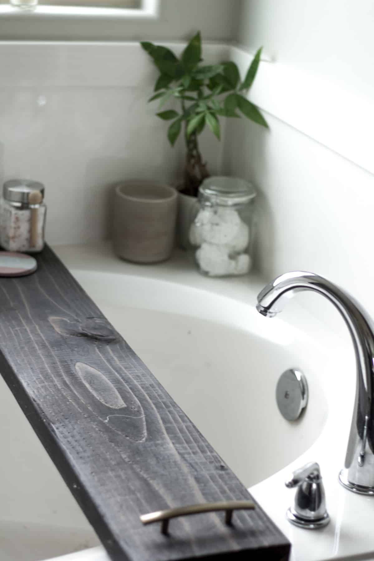 DIY Stained Wood Bath Tray - Practical and Pretty