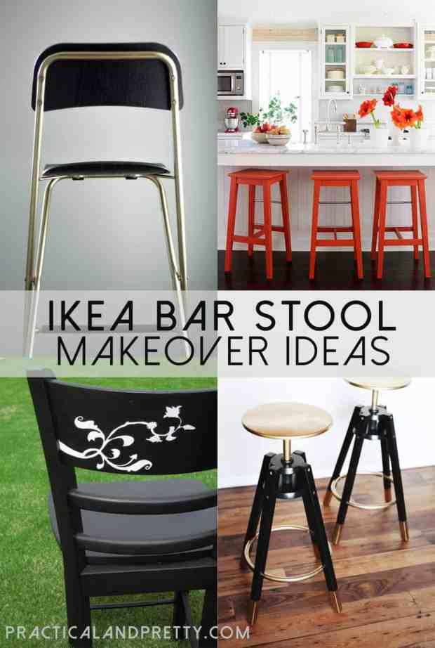 I put together a few ideas of how you can makeover an IKEA bar stool to make it perfect for YOUR kitchen!