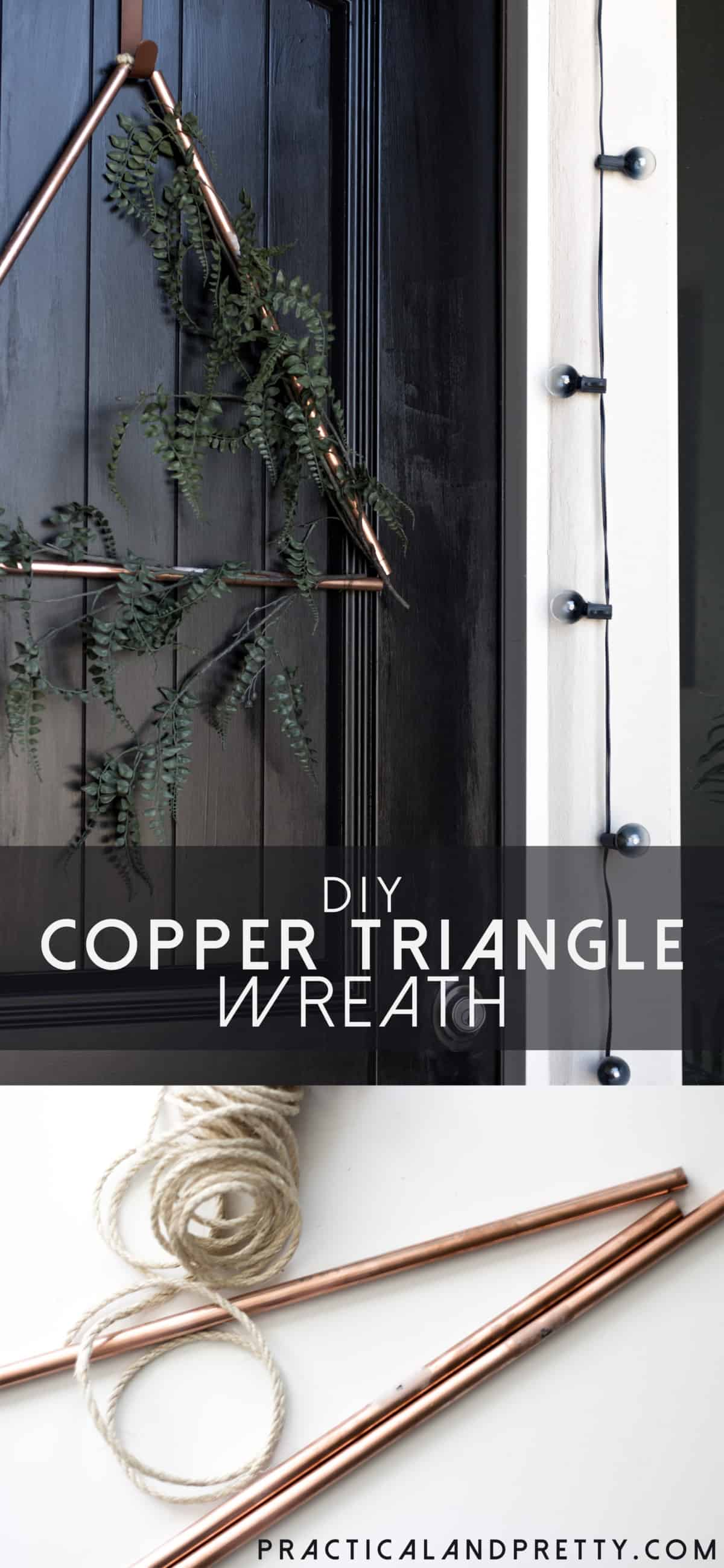 This DIY is simple but has a big impact on any door. I put it against my all black door for a little extra pop. Use foliage or keep it all metal!