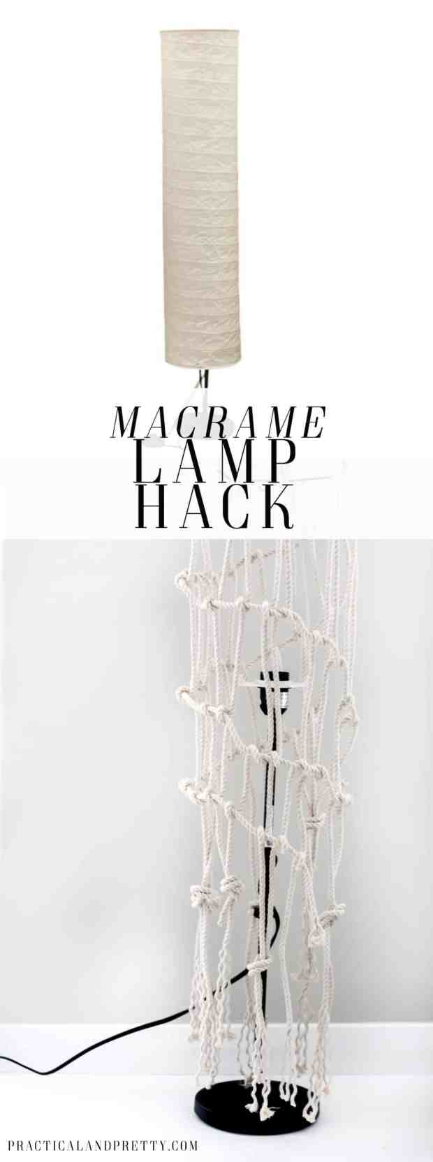 This macrame lamp hack was really pretty simple. The HOLMO lamp can look so boring. Maybe yours needs a little update too!
