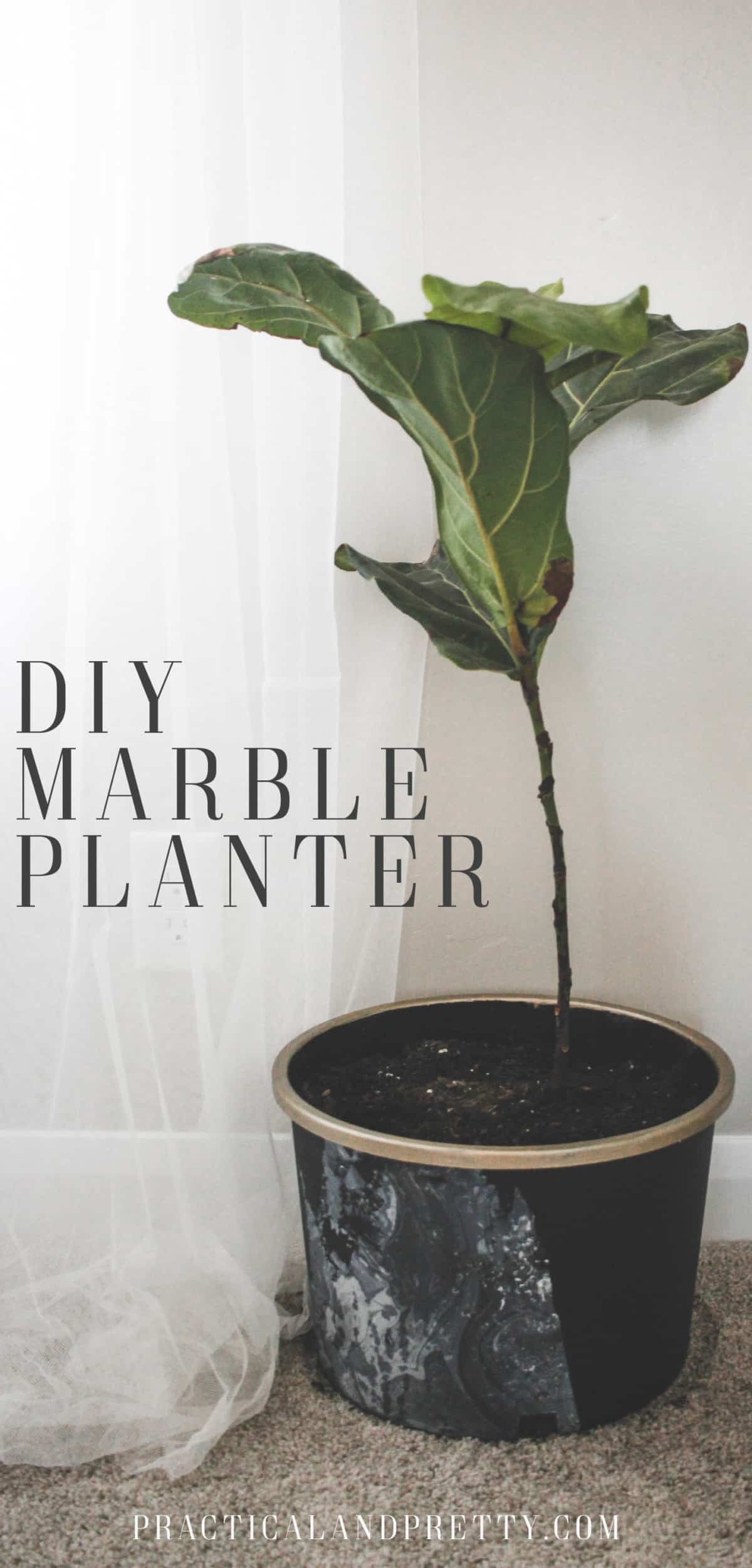 Take these basic black planters to the next level using paint with a water marbling technique for a marble planter.