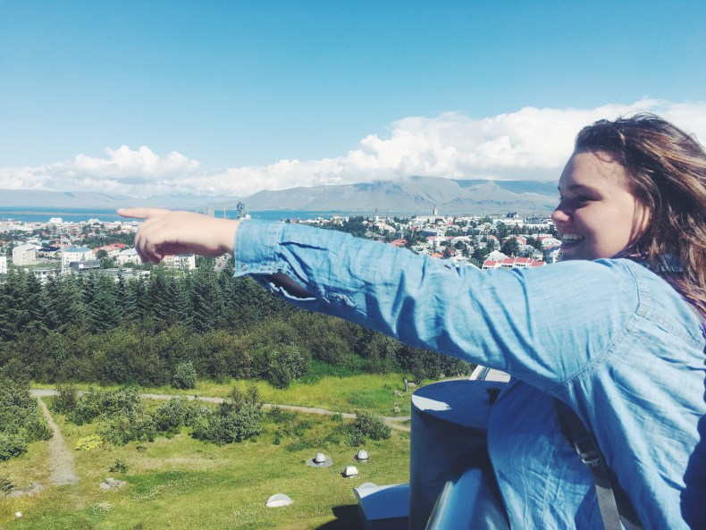 pointing at iceland