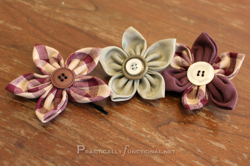 Fun Fabric Flowers  Practically Functional  Fabric flower tutorial