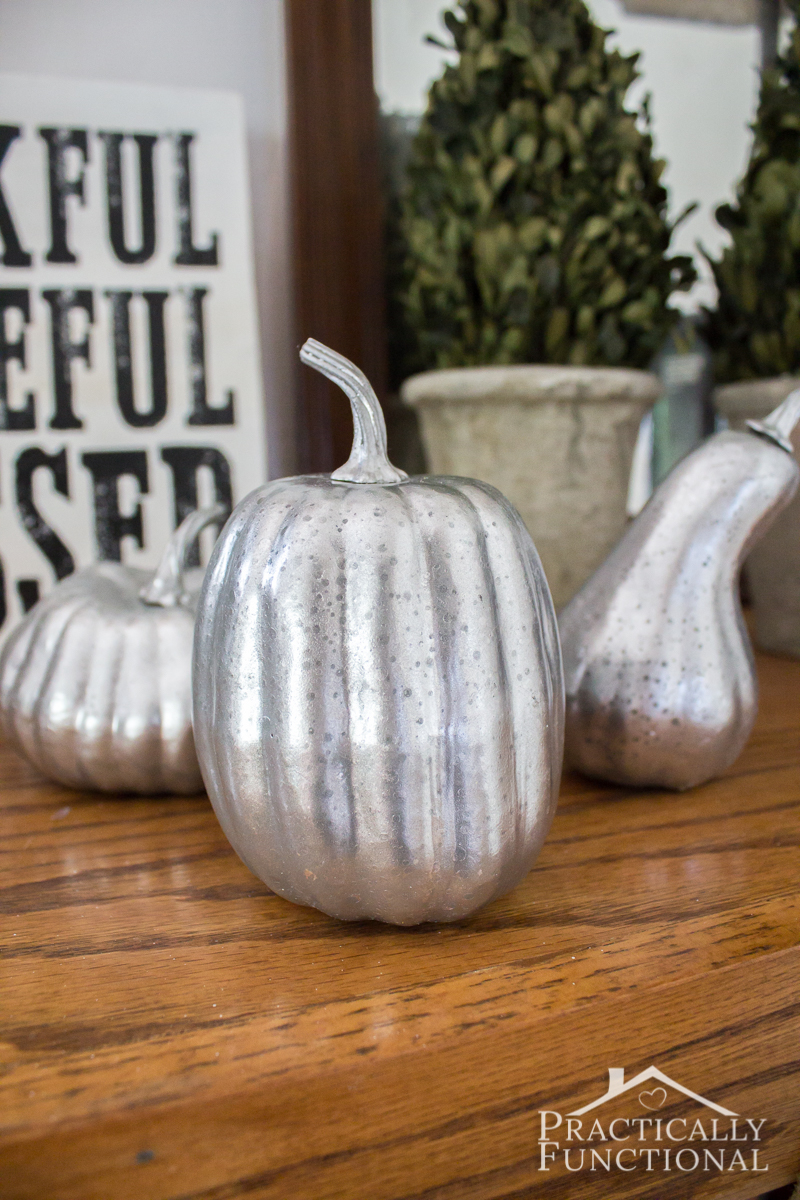 DIY Faux Mercury Glass Pumpkins With Foam Pumpkins