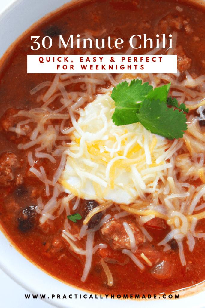 30 minute chili   quick chili recipe   chili with black beans   chili using Rotel   chili under 30 minutes
