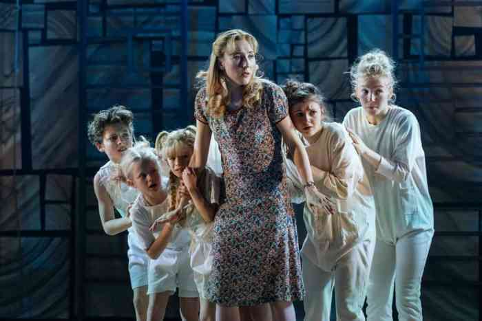 Miss Honey and children. Matilda the Musical Review at Bristol Hippodrome