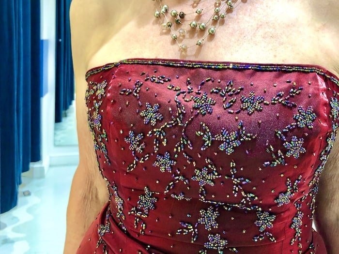 Beautiful dress detail at Beyond Retro Vintage clothes shop in Bristol