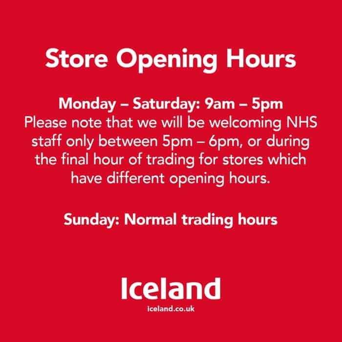 Iceland opening hours during Covid-19 lockdown in Portishead
