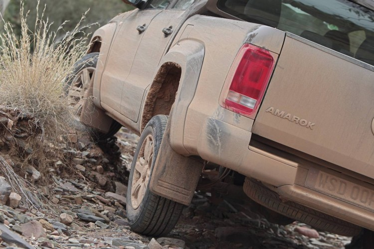Volkswagen Amarok showing its articulation.