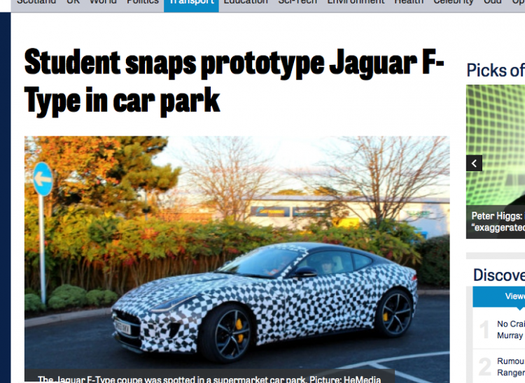Jaguar F-Type spotted in a car park, photographed by a student