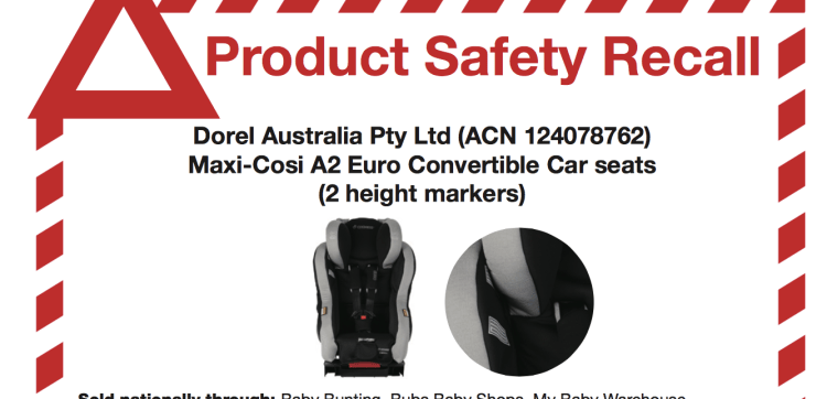 Max-Cosi A2 child seat recalled