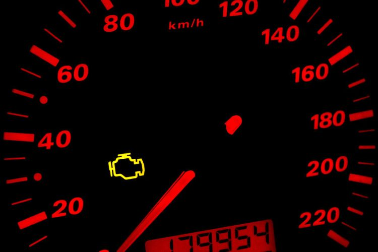37035768 - check engine light. car dashboard in closeup