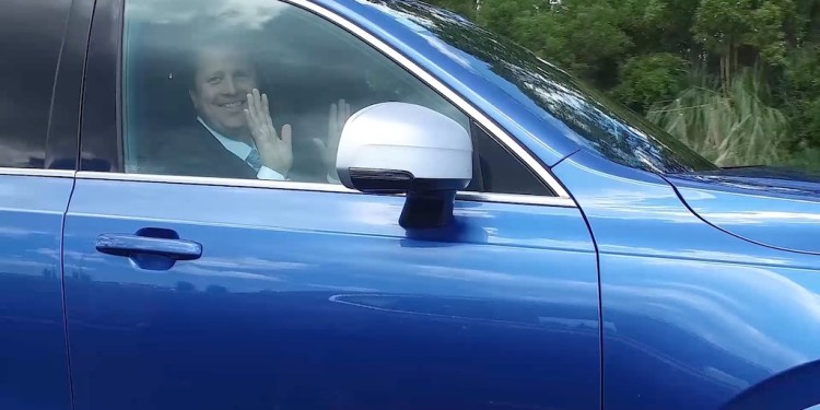 This is NZ Transport Minister, Simon Bridges behind the wheel of the autonomous XC90 and not our scribbler.