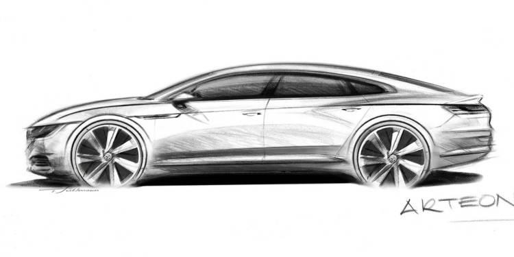 Volkswagen has released a teaser sketch of its new range-topping luxury car. Called Arteon it replaces the poor selling VW Phaeton.