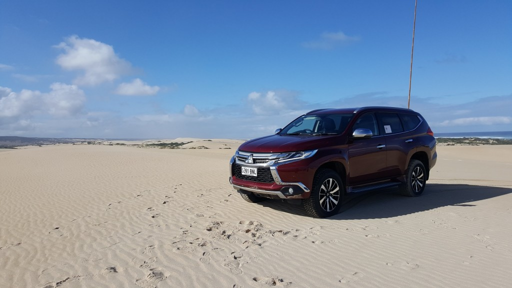 Mitusbishi Pajero Sport on the beach