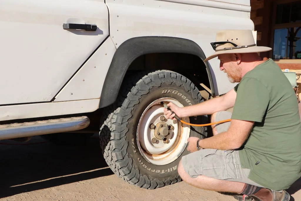 Lowering pressures when driving on dirt can improve ride quality and reduce the chance of a puncture or chipping