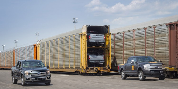An all-electric Ford F-150 prototype during a capability test. The battery-powered truck successfully towed more than 1.25 million pounds of rail cars and trucks during the test.