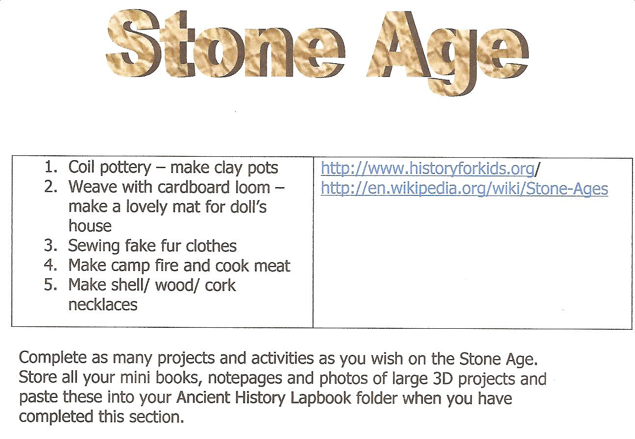 New Sonlight Stone Age Lapbook And Hands On Activity Page