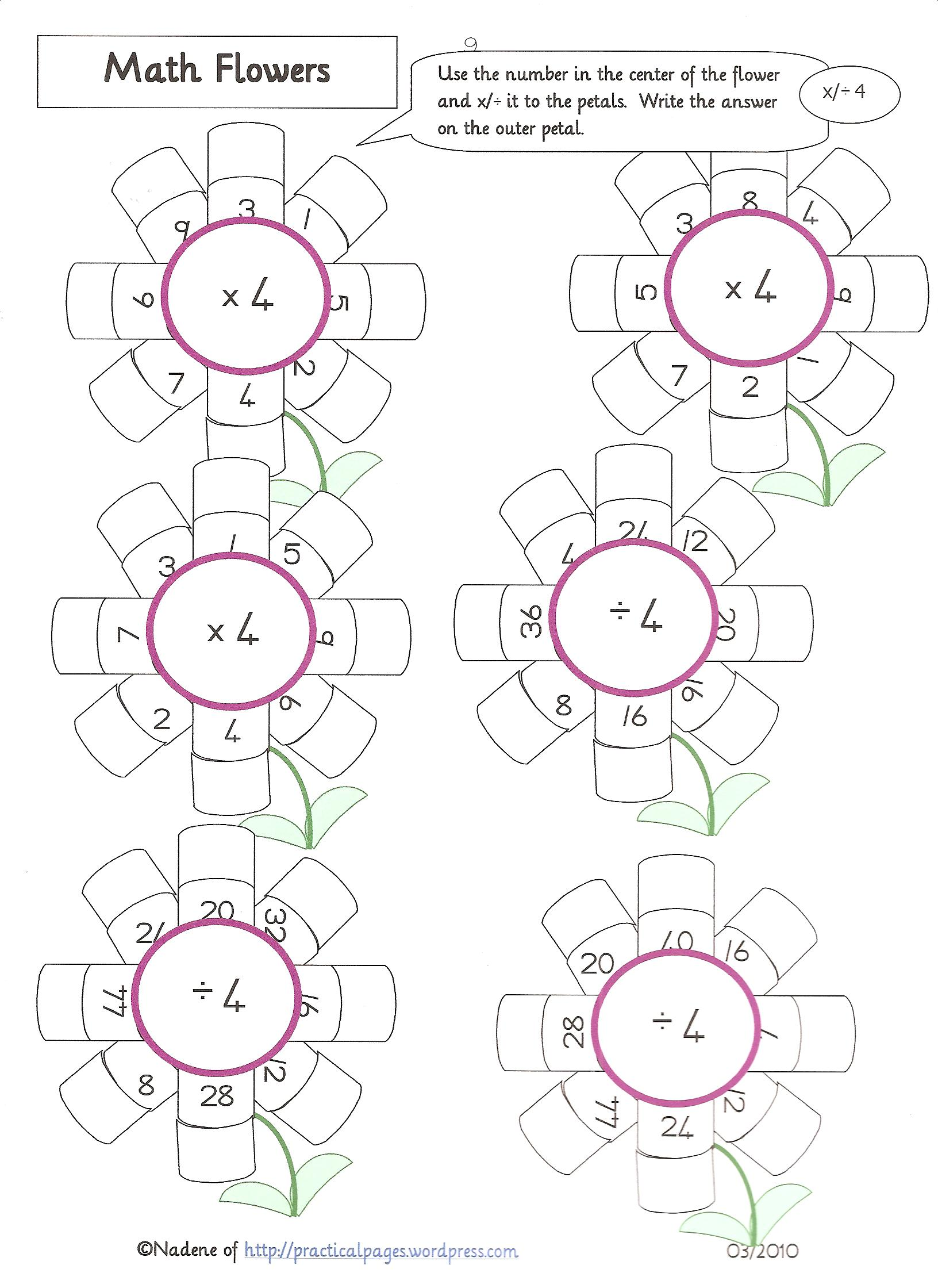 Multiplication Flower Template