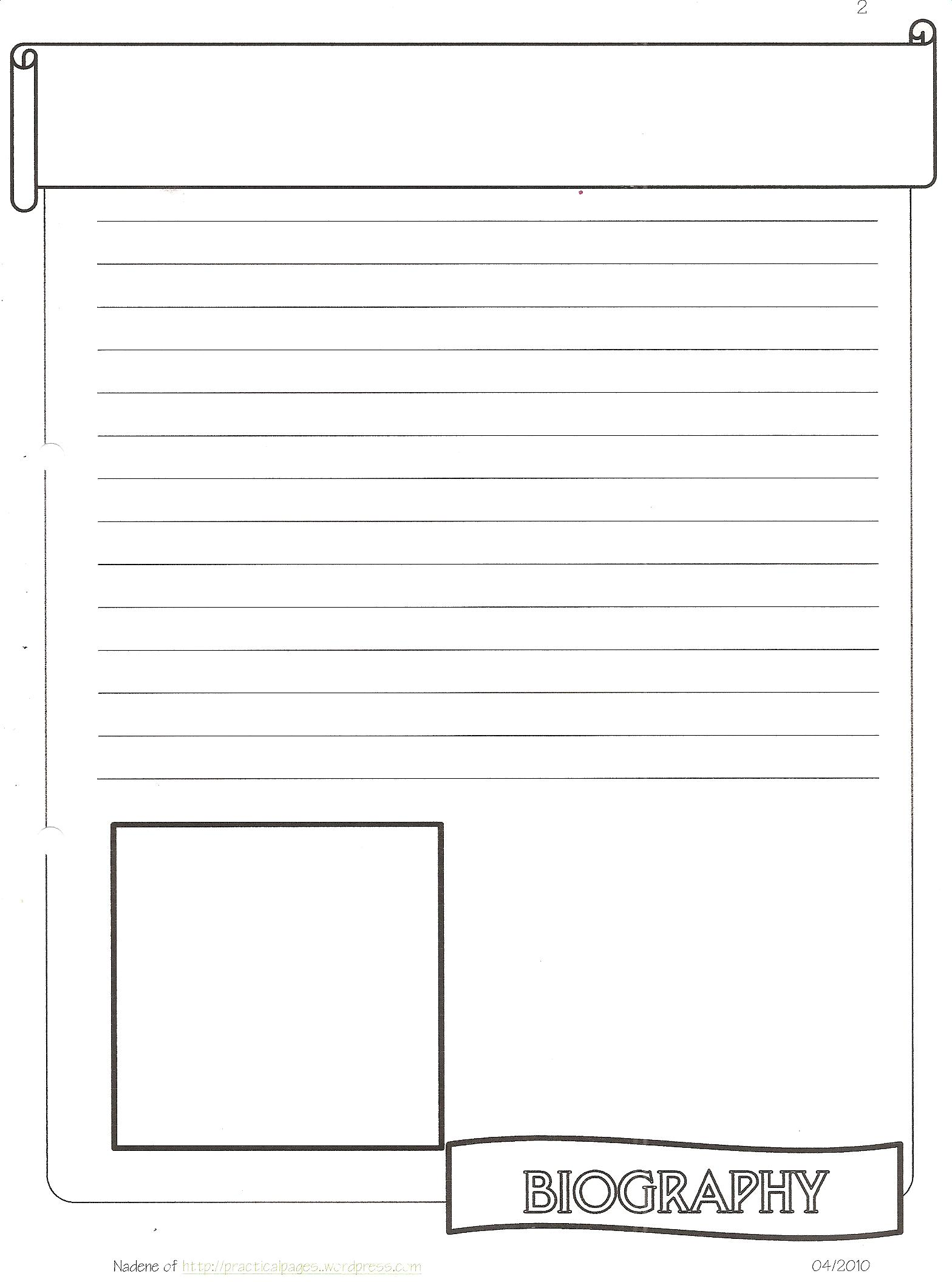 New Biography Notebook Page Templates