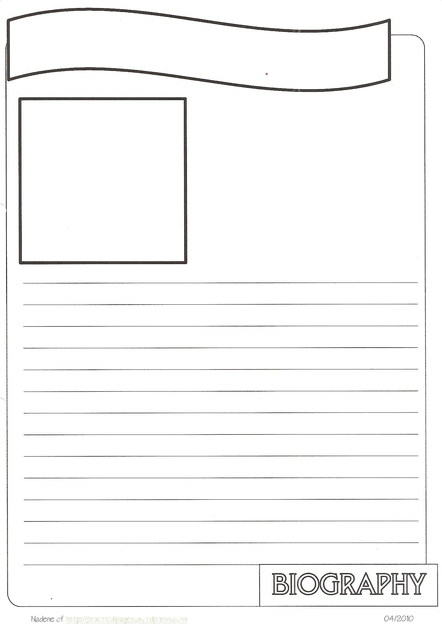 New Biography Notebook Page Templates | Practical Pages