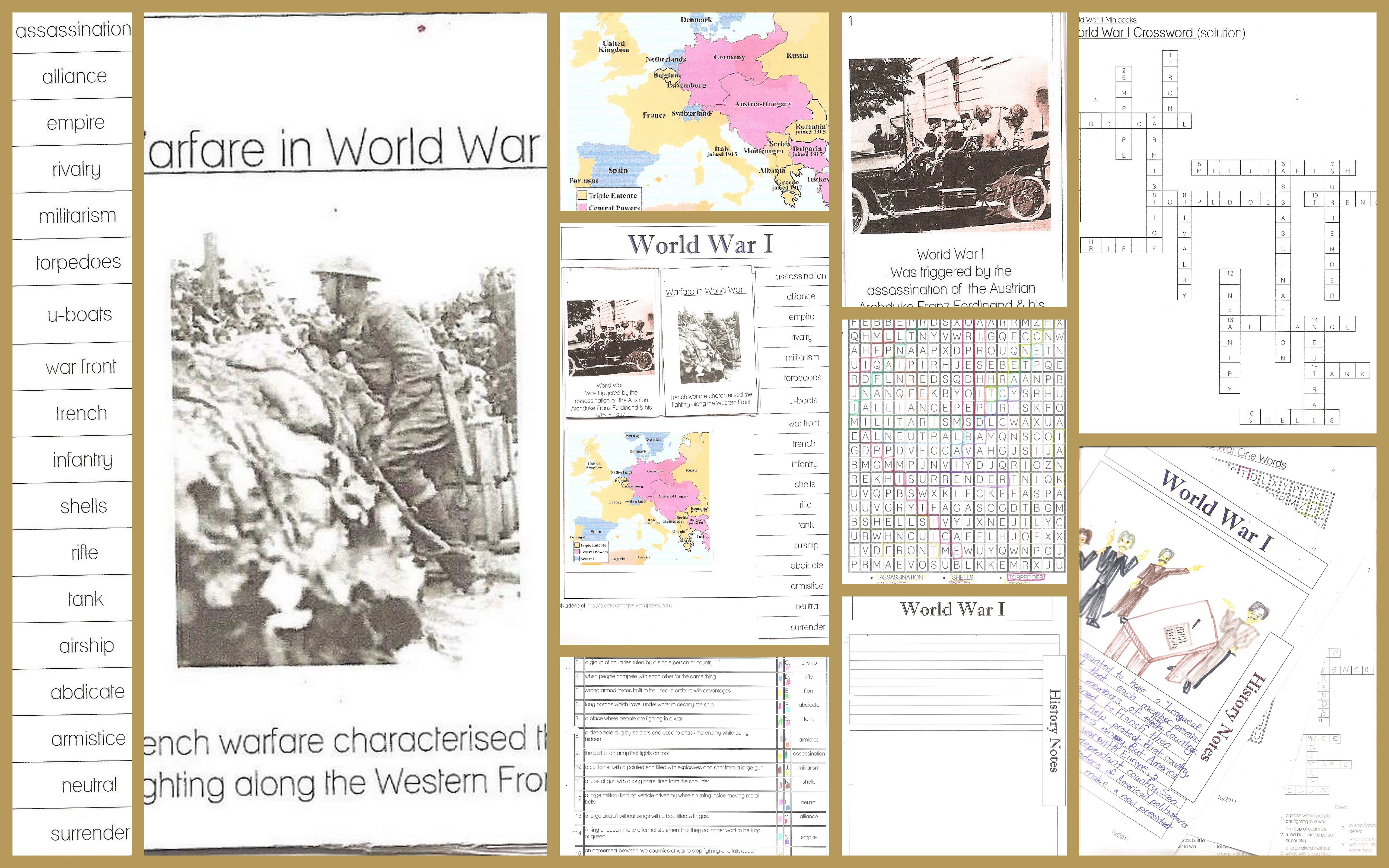 World War I Minibooks And Notebook Pages