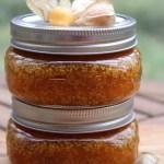Two jars of husk cherry jam from homemade recipe