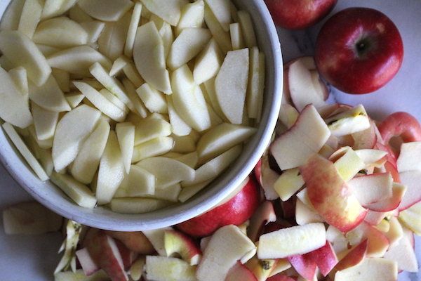 Apples Peeled for Sauce