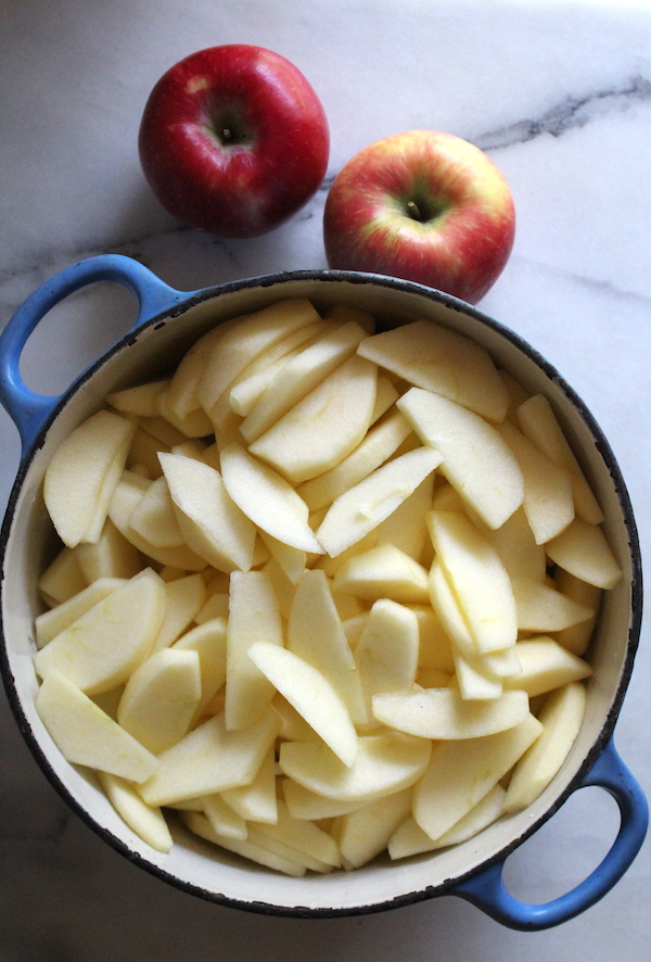 Making applesauce for canning