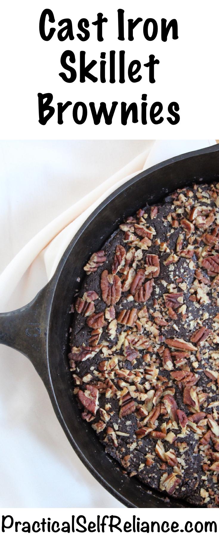 Cast Iron Skillet Brownies #brownies #brownierecipe #castironrecipe #dessertrecipe #baking