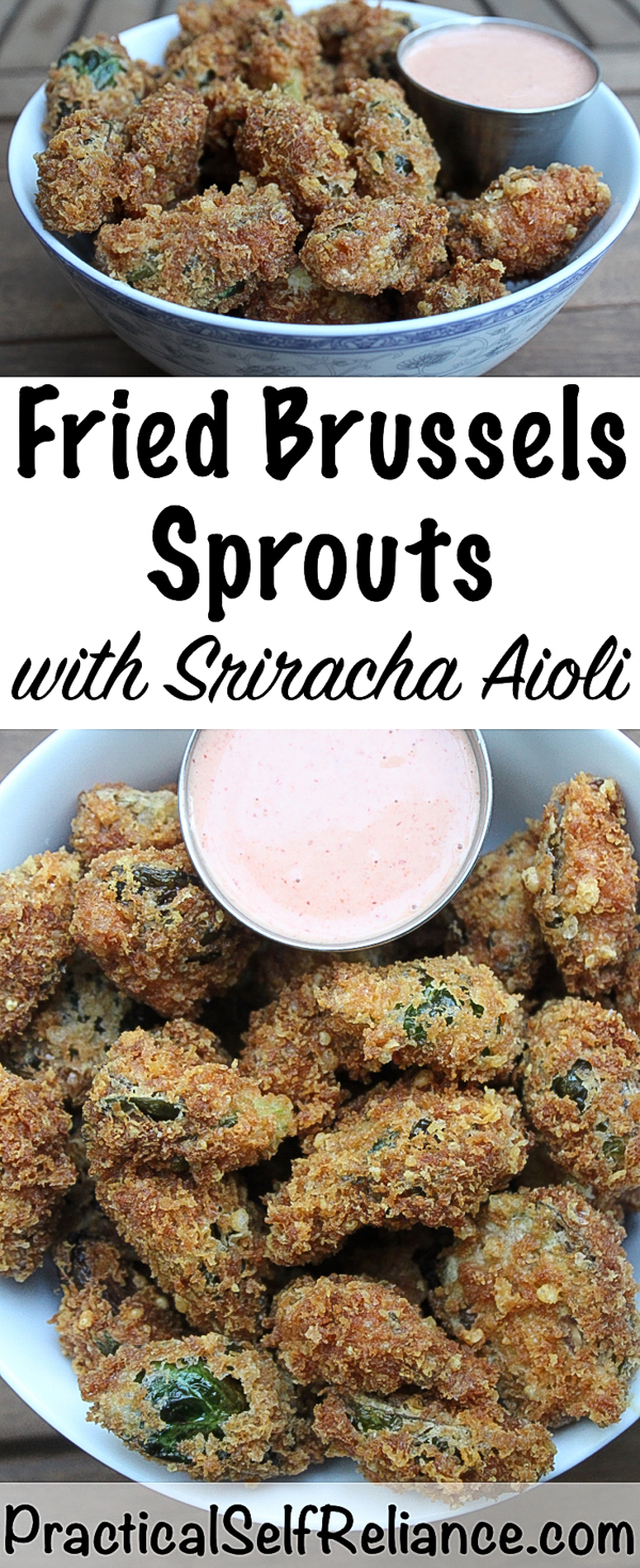 Parmesan & Panko Fried Brussels Sprouts Recipe #brusselssprouts #brusselsprouts #brusselssproutsrecipes #sriracha #aioli #recipes #friedfood