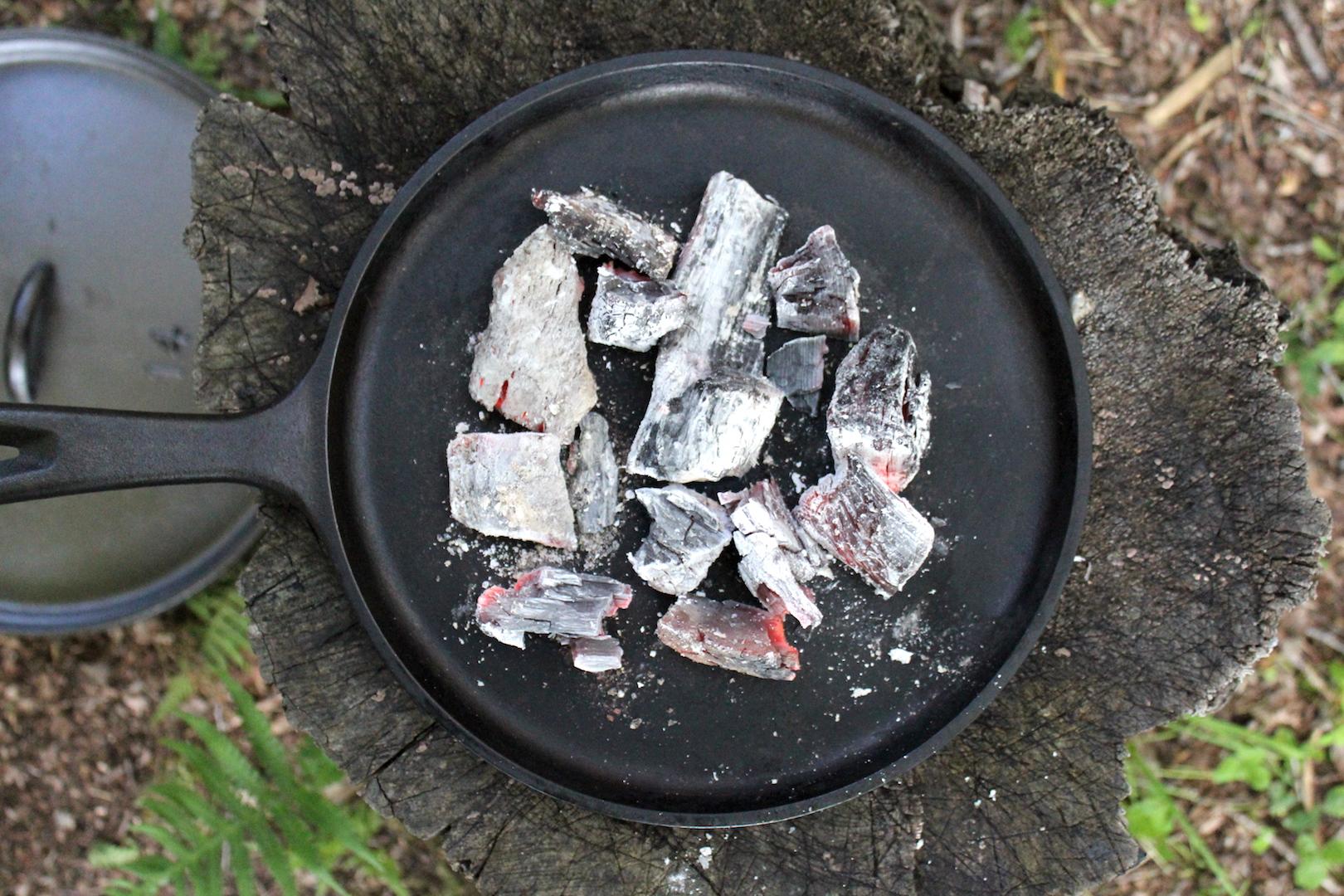 Coals on Griddle for Under Dutch Oven