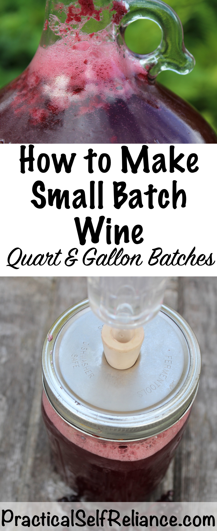 How to Make Small Batch Wine ~ Batch sizes from 1 quart to 1 gallon #homemade #wine #winemaking #diywine #homebrewing #fermenting #drinks #beverage