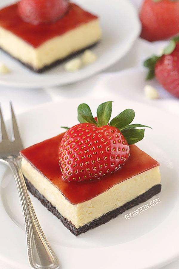 Strawberry White Chocolate Cheesecake Bars from Texanerin