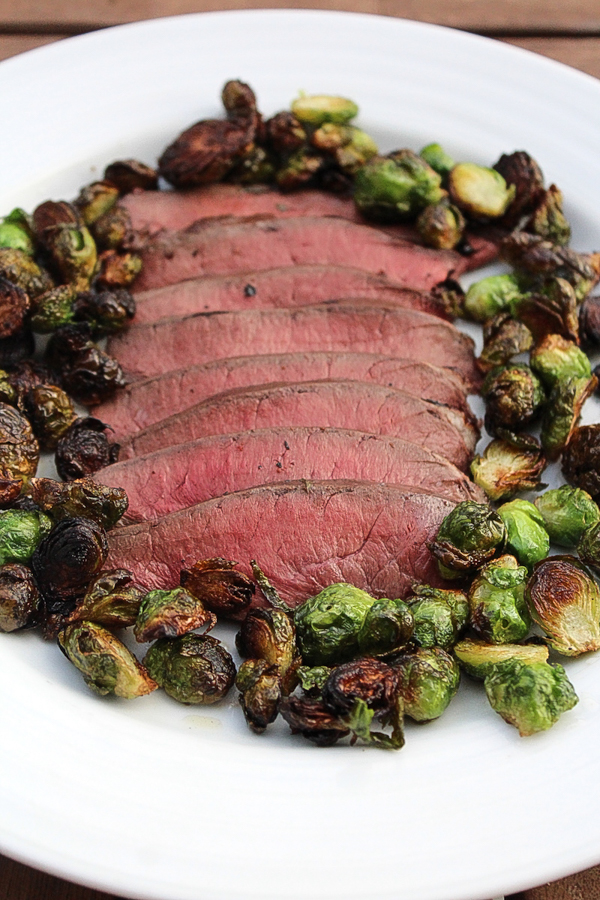 Venison heart steak with Brussel sprouts