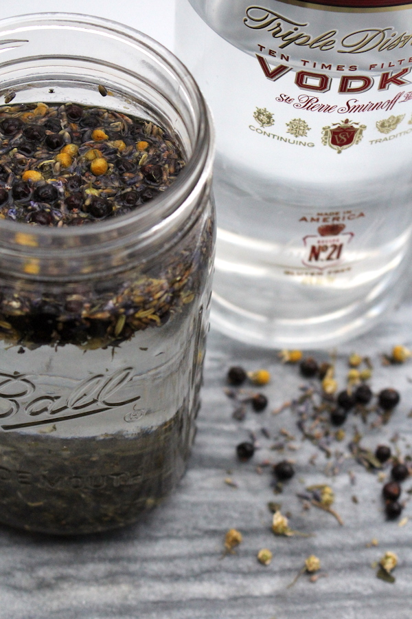 Homemade Herbal infused gin made by infusing vodka