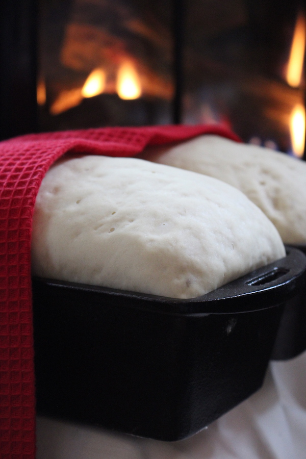 Amish White Bread Rising By the Fire
