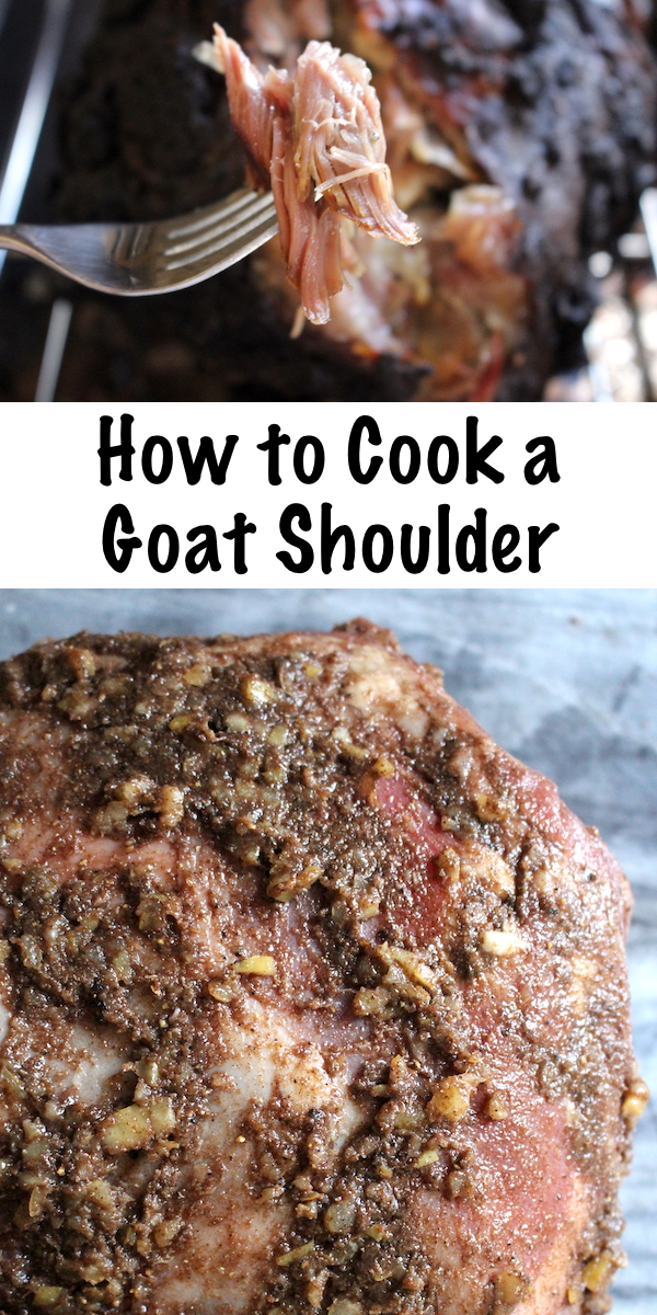 How to Cook a Goat Shoulder ~ Marinated in a middle eastern spice mix, this slow roasted goat shoulder is fork tender and delicious. #goat #meat #recipes #howtocook  #lebanese