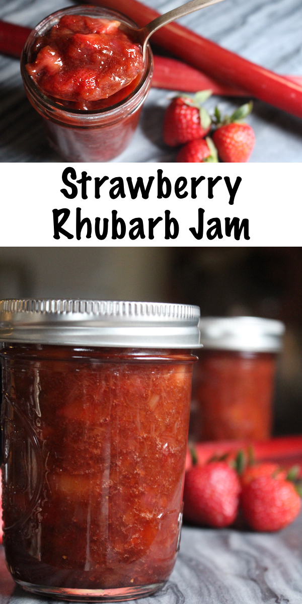 Homemade Strawberry Rhubarb Jam ~ This easy strawberry rhubarb jam is made without pectin. This recipe can be used for home canning or as a freezer jam. Instructions for a strawberry rhubarb jam with pectin are also provided, as well as low sugar options. #strawberry #rhubarb #jamrecipe #canning #foodpreservation #homesteading
