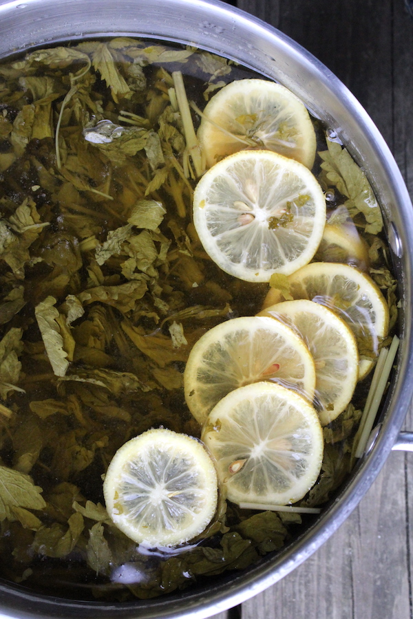 Lemon balm and Lemon infusing into a herbal mead