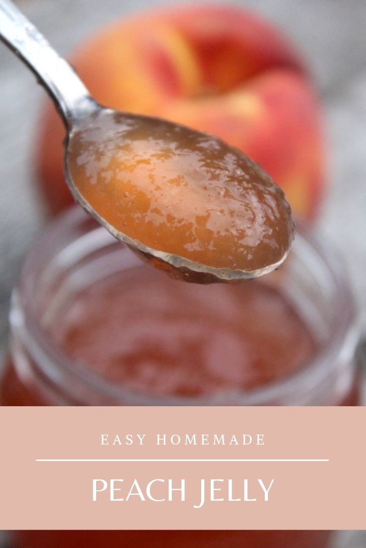 Homemade Peach Jelly ~ Recipe for canning or refrigerator preserves. Peach Jelly is easy to make at home, and it's a great way to use up extra peach peels or peach scraps. It can also be made from a few fresh peaches, yielding plenty of homemade peach preserves from just a few peaches. #peaches #peachrecipes #peachjelly #jellyrecipes #canning #foodpreservation #preservingfood #homestead #selfreliant #selfsufficiency #homesteading