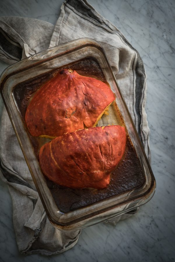 roasted pumpkin in a glass baking dish