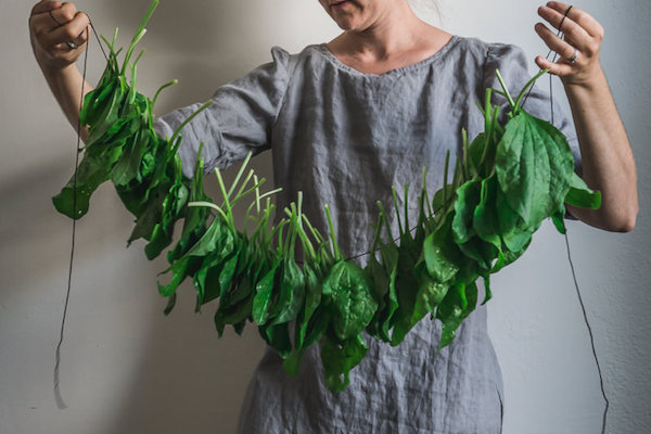 A woman holds a string of plantain leaves.