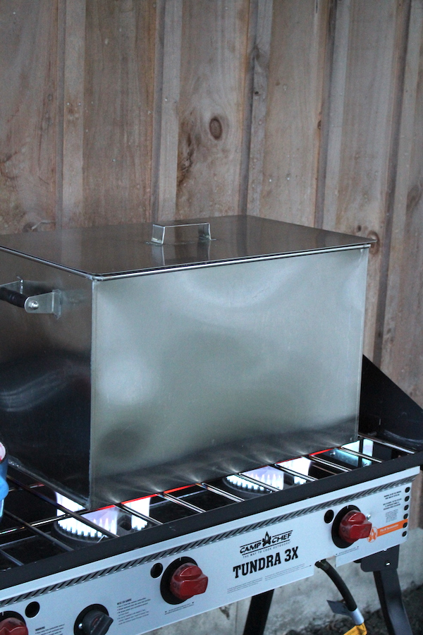 Amish Made Stovetop Water Bath Canner in My Outdoor Canning Kitchen