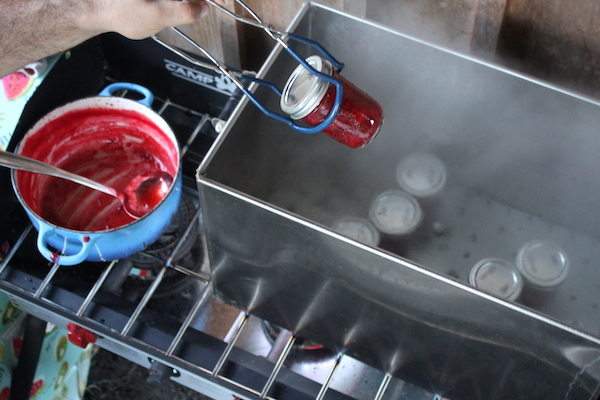 Canning strawberry jam in our outdoor canning kitchen