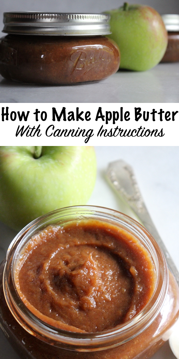 How to Make Apple Butter (With Canning Instructions) ~ Making apple butter is really easy, and all it takes is a bit of patience. Crock pot apple butter mimics the old fashioned process, and naturally carmelizes the apple sugars for a rich brown spread. Canning apple butter is simple, and only requires a few minutes in a water bath canner. #applebutter #fall #fallrecipes #applerecipes #canning